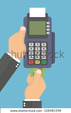 Hand holding pos terminal and pushing credit card in to it. Using pos terminal concept. Flat style