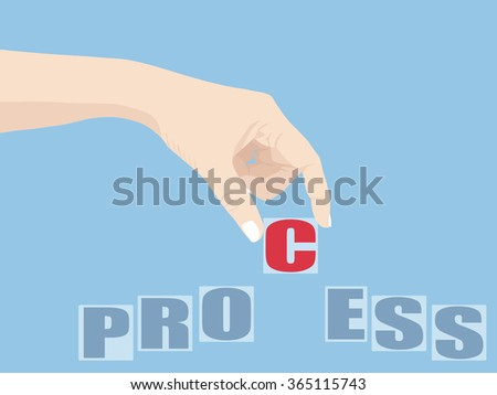 Hand Holding Process word, Vector Illustration EPS 10.