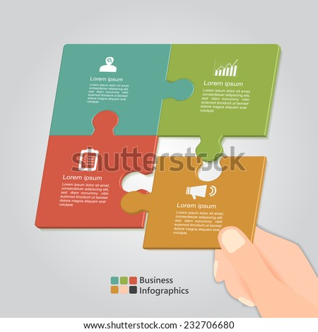 Hand Holding Puzzle , Puzzle Options Template. Business Icon and Text Information Design. Vector Illustration. - stock vector