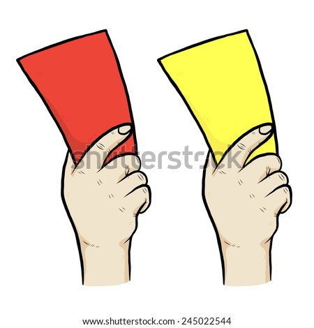 hand holding red and yellow card / cartoon vector and illustration, hand drawn style, isolated on white background. - stock vector