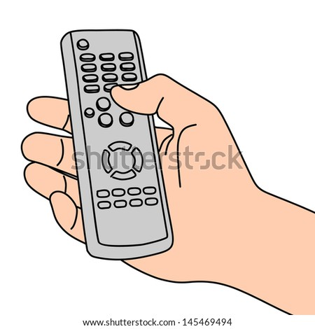 hand holding remote, illustration - stock vector