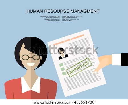 Hand holding resume and stamp with Approved.Happy women got a job. Human resources management concept, searching professional staff, analyzing resume papers, work. illustration in flat design - stock vector
