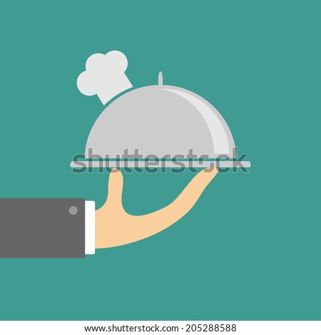 Hand holding silver platter cloche with chefs hat. Flat design. Vector illustration - stock vector