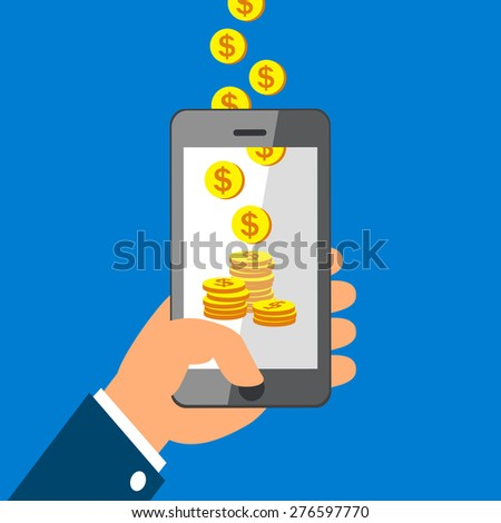 Hand holding smart phone and Earning Coins - stock vector