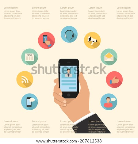 hand holding smart phone and icons set. infographics flat design style elements. vector graphic business modern template - stock vector