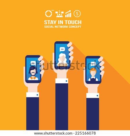 Hand holding smart phone and make a video call. Modern flat design. Communication in the network concept. Business and personal relationships. Vector illustration - stock vector