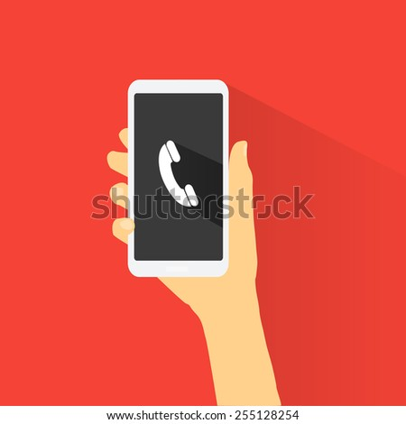 Hand holding smart phone black screen on red background. Flat design