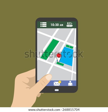 Hand holding smart phone, gps map on mobile, flat design.