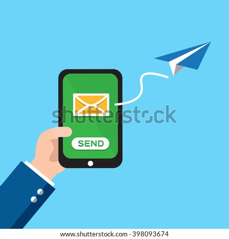 Hand holding smart phone in hand with email social network. - stock vector