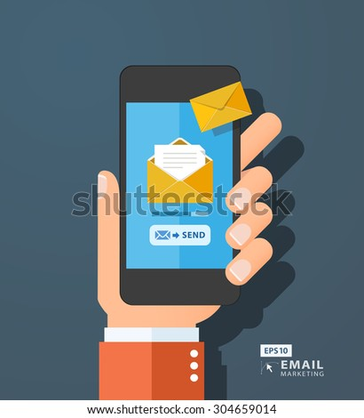 Hand holding smart phone in hand with email social network. Message send on mobile phone. Email marketing. Flat style vector illustration - stock vector
