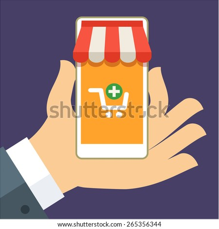 Hand holding smart phone with buy icon on the screen. E-commerce flat design concept. Using mobile smart phone for online purchasing.  - stock vector