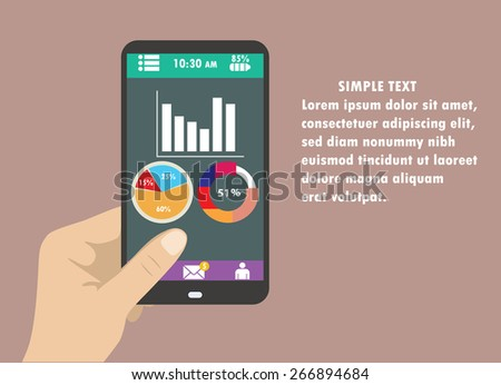 Hand holding smart phone with graphs on modern background. Flat design - stock vector