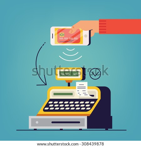 Hand holding smart phone with online payment electronic wallet application at cashier counter of retail store | Ecommerce concept design on instant contactless payment transfer using credit card data  - stock vector