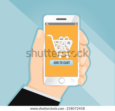 Hand holding smart phone with shopping, e-commerce concept vector - stock vector