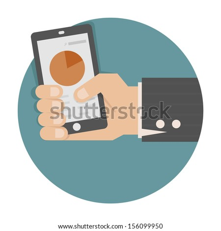 Hand holding smart phone with success growth , eps10 vector format - stock vector
