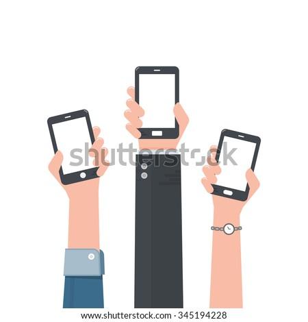 Hand holding smartphone. - stock vector