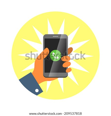 Hand holding smartphone, answer an incoming call. Vector illustration. - stock vector