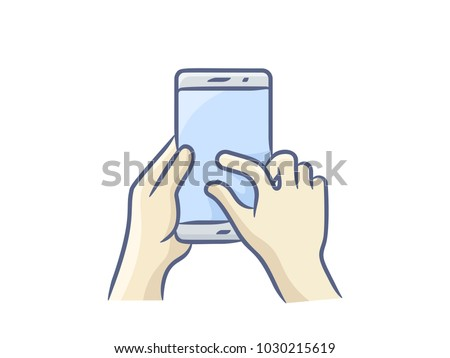 hand holding smartphone finger touching screen stock vector royalty