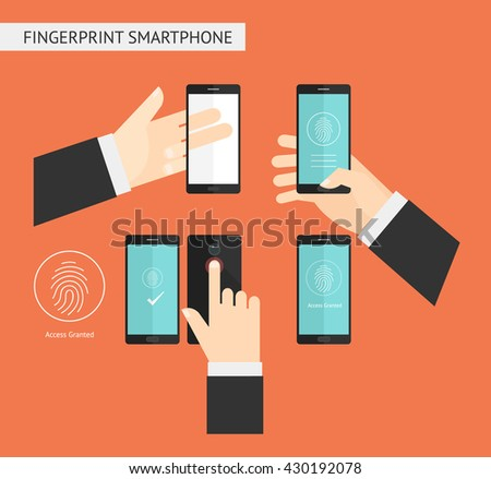 Hand holding smartphone fingerprint security access. - stock vector