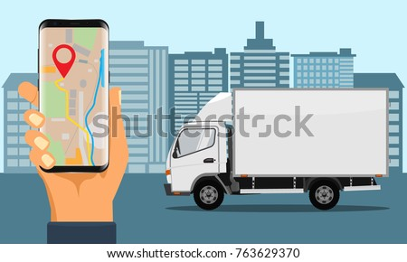 Hand holding smartphone for tracking delivery. City skyline and truck. Illustrated vector.