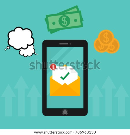 Hand holding smartphone. New email notification on mobile phone. Marketing concept Flat style vector illustration