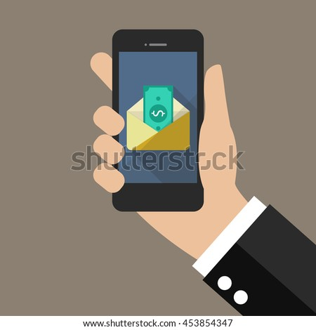 Hand holding smartphone with banknote in envelope. vector illustration