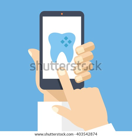 Hand holding smartphone with dental app on screen. Medical diagnostics, patient information, dental solutions. Modern concept for web banners, web sites, infographics. Flat design vector illustration - stock vector