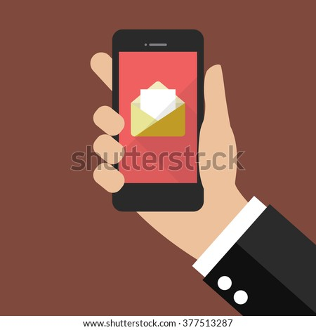Hand holding smartphone with email icon. Flat style design