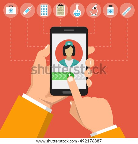 Hand holding smartphone with female doctor on call and an online consultation. Medical icons set. Vector flat illustration.
