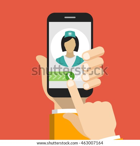 Hand holding smartphone with female doctor on call and an online consultation. Vector flat illustration.