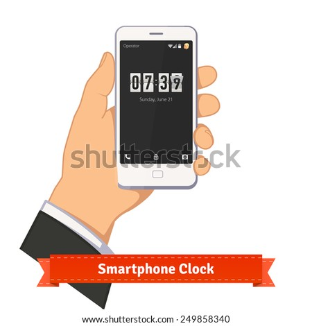Hand holding smartphone with flip clock counter widget on lock screen. Flat style illustration or icon. EPS 10 vector. - stock vector