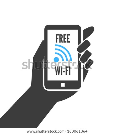 Hand holding smartphone with free wifi wireless connection business concept isolated vector illustration - stock vector