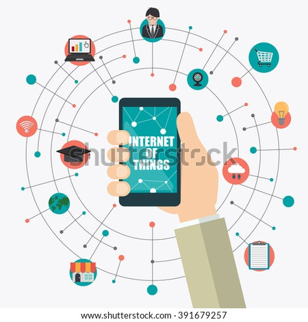 hand holding smartphone with Internet of things word and icons, Digital Marketing concept