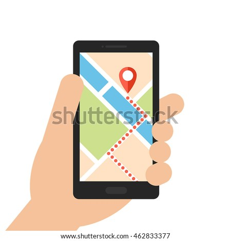Hand holding smartphone with mobile gps navigation on the screen. Flat design vector illustration