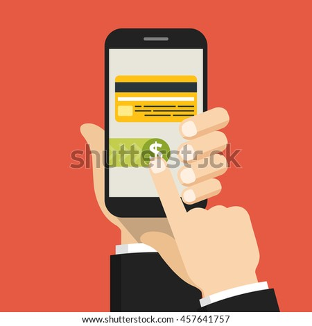 Hand holding smartphone with mobile payments on the screen. Vector flat illustration.