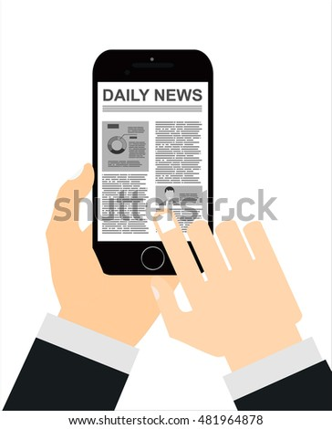 Hand holding smartphone with online news on the screen. Mobile content concept. Flat vector illustration.