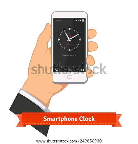 Hand holding smartphone with round clock widget on lock screen. Flat style illustration or icon. EPS 10 vector. - stock vector