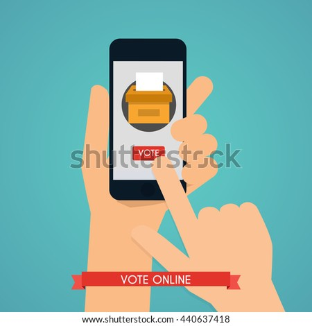 Hand holding smartphone with voting app on the screen. Communication Systems and Technologies. - stock vector