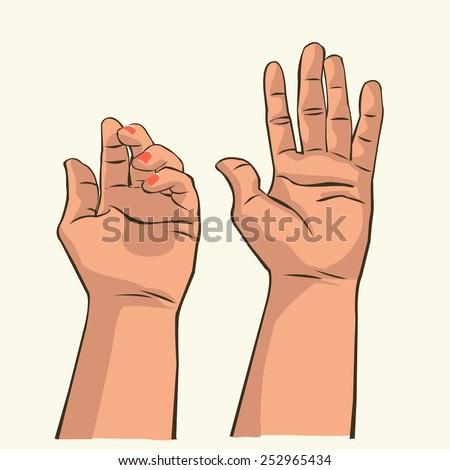 Hand holding something - stock vector