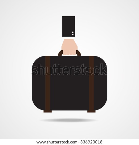 Hand holding suitcase. Flat design.Vector EPS 10 - stock vector