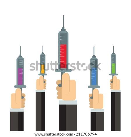 Hand Holding Syringe,vector,illustration. - stock vector
