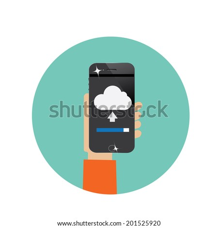 hand  holding tablet computer with cloud server uploading - stock vector