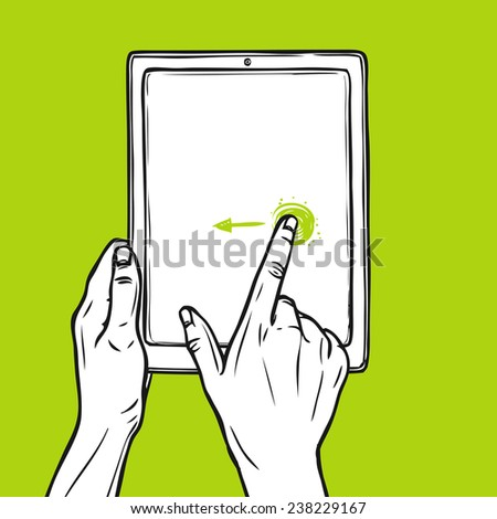 Hand holding tablet gadget and swipe gesture sketch on green background vector illustration