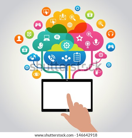 Hand holding tablet with icons.  Concept of communication in the network. File stored in version AI10 EPS. This image contains transparency. - stock vector