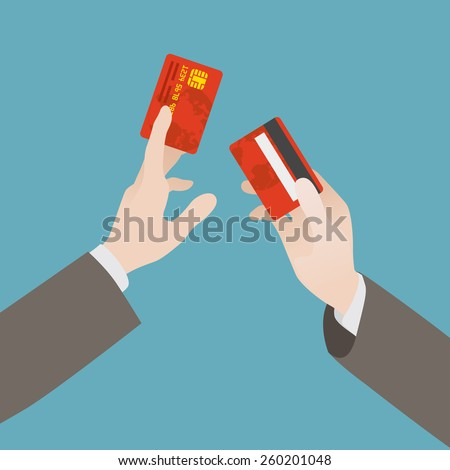 Hand holding the credit card against the blue background - stock vector