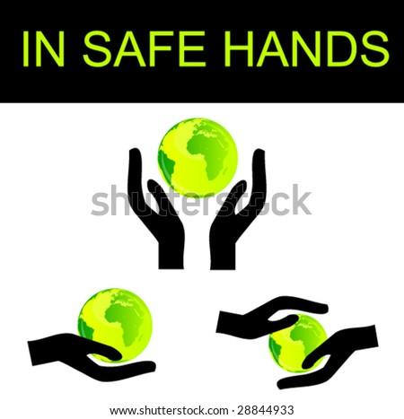 hand holding the globe set - stock vector