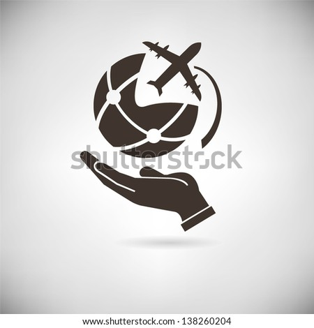 hand holding the world globe with airplane - stock vector