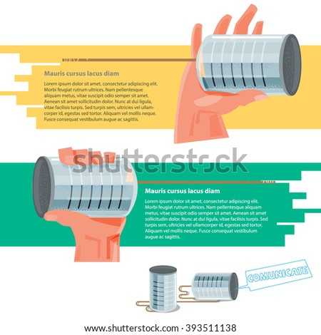 Hand holding tin cans to listening or talking together. communication concept - vector illustration - stock vector