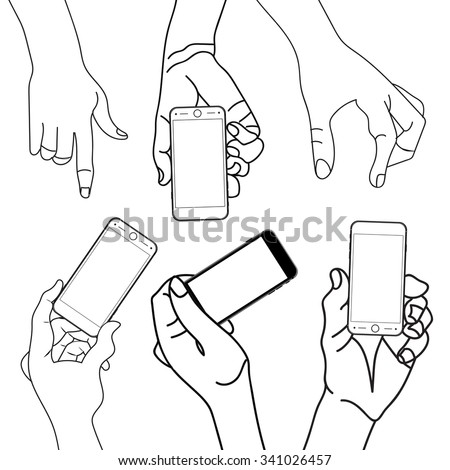 Hand holding Touch mobile smart phone with blank screen. Isolated on white. Illustration