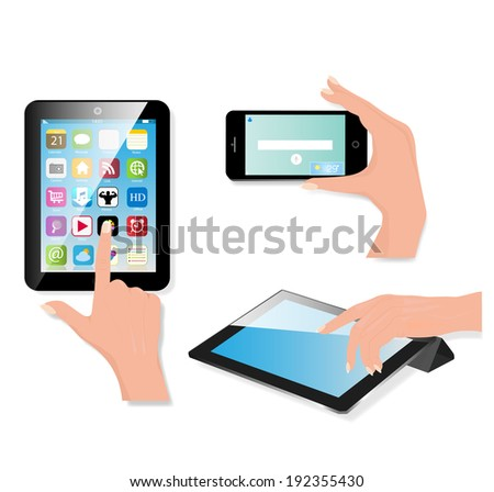 Hand holding touch pad pc and finger touching it's screen with icons. Vector. - stock vector